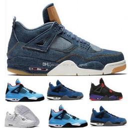 15f7064f0a3647 Basketball Shoes 4 IV Mens Womens Blue Cement Kaws 4 Chaussures 4s Bred  Denim Cactus Jack Alternate Eminem Raptor Travis Athletic Sports Sne