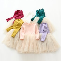 Wholesale Girls Knit Dresses Wholesale - Everweekend Kids Girls Candy Color Tutu Knitted Ruffles Dress Spring Autumn Cute Children Fashion Party Dress