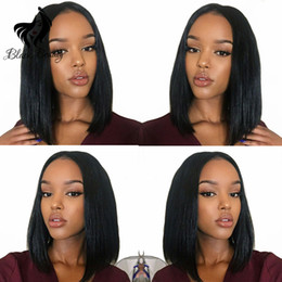 Brezilyalı Bakire Saç Bob Kısa Düz Saç Dantel Ön Peruk Siyah Kadınlar Için Tutkalsız Kısa Bob İpeksi Düz Saç Dantel Peruk nereden siyah saçlı kısa bob tedarikçiler