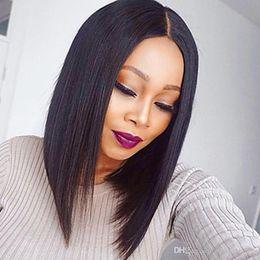 Donne di parrucche nere di alta qualità online-Natural Looking 1b # 2 # 6 # 613 # Parrucche corte Bob Parrucche frontali in pizzo sintetico Glueless resistenti al calore con pizzo pieno di alta qualità per donne nere