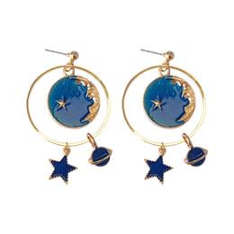 Wholesale Blue Moonstone Earrings - South Korea star dream girl heart earrings Mori star moon personality all-match super fairy earrings earrings female