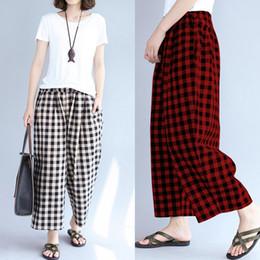 calças de xadrez vermelhas mais tamanho Desconto 2018 Mulheres Calças de Verão Preto Branco Xadrez Vermelho Solto Perna Larga Calças Bolsos Casual Sweatpants Longo Pantalon Femme Plus Size