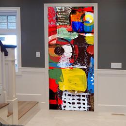 impressão de adesivo de vinil Desconto 2 pçs / set pvc 3d papel de parede do vinil tampa da porta adesivos de parede de graffiti adesivos de parede da cozinha decoração murais de grafite abstrato