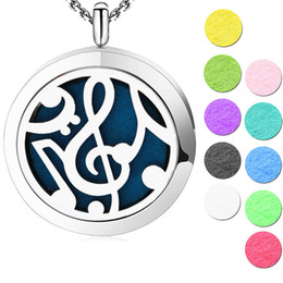 Wholesale music pads - music 30mm Aromatherapy Essential Oil surgical Stainless Steel Perfume Diffuser Locket Necklace with chain and pads