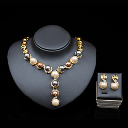 Wholesale palace crystals - LAN PALACE parure bijoux mariage jewelry gold color austrian crystal simulated pearl jewerly sets necklace stud earring