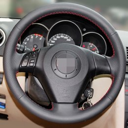 velhas rodas de direção do carro Desconto Tampa de volante de carro de couro artificial preto para Mazda velho 3 Mazda 5 Mazda 6 2003-2009
