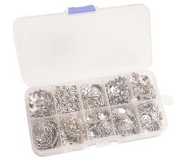 Metal bead caps en Ligne-390PCS / BOX Perles en Métal Argenté Anciennes Caps W / Container (10 Styles)