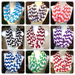 Wholesale Cotton Circle Scarf - winter scarfs for women Wave scarves Chevron Infinity Teens Circle Loop ring scarf 2018 fashion cotton infinity scarves wholesale