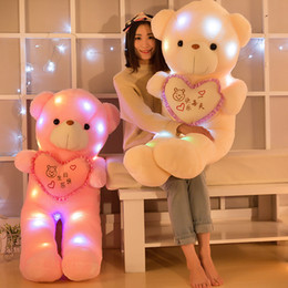 Wholesale teddy night light - Creative LED Teddy Bear Doll Colorful Cute Luminous Plush Toys Glowing Stuffed Animals Night Light Birthday Gift For Kids 15bd YY