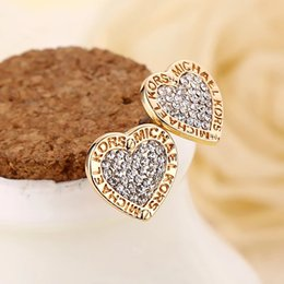 Wholesale Gold Tone Wedding Jewelry - selling New York Fashion Logo Pave Tone Stud Earrings High quality crystal heart Earings fashion brand Wedding jewelry for women girls