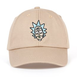 Wholesale Crazy Anime Wholesale - Rick and Morty New Khaki Dad Hat Crazy Rick Baseball Cap American Anime Cotton Embroidery Snapback Anime lovers Cap Men Women