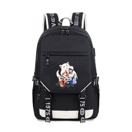 905d8fe5fb63 Japanese Anime Gintama Backpack for Teenage Girls and boys Cartoon Gin  Canvas Cartoon travel Shoulder Bag