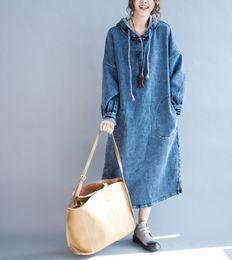 Denim vestido de outono e inverno nova coreano casuais longa com capuz manga comprida solta garota gorda tamanho grande roupas femininas supplier korean loose dress de Fornecedores de vestido solto coreano