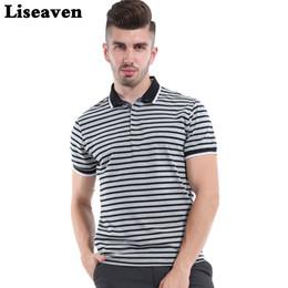 Wholesale Polo Shirt Cool - Liseaven 2017 Men Striped Polo Shirt Solid Tops Tees Shirt Summer Casual Clothing Cool Tee Camisa Polo Masculina