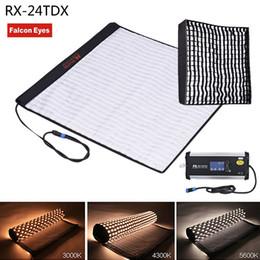 2019 набивка ткани FalconEyes RX-24TDX квадратная Rollable ткань Сид Заполнени-в светлой панели 150W освещения студии светильника видео-BI-Color 3000K-5600K Softbox дешево набивка ткани