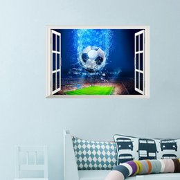 Футбол Кубок мира 3D поддельные окна стены наклейки для детская комната мальчиков спальня наклейки на стены фрески Home Decor от Поставщики футбольную стенную роспись для детей