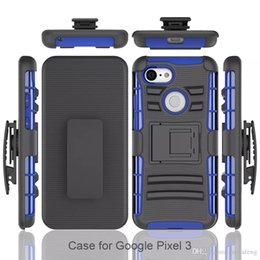 Чехлы для сотовых телефонов онлайн-Для Google Pixel 3 XL сотовые телефоны ударопрочный жесткий пластик TPU кобура зажим для ремня Kickstand телефон случаях