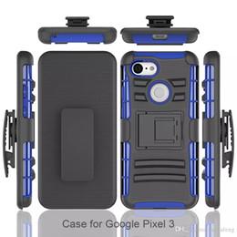 Hardclip holster online-Für Google Pixel 3 XL Handys ShockProof Hartplastik TPU Holster Gürtelclip Kickstand Phone Cases
