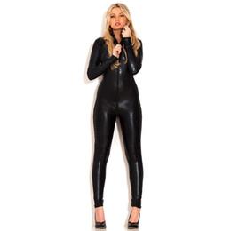 Femmes Sexy Élastique Costumes Noir Wet Look Zipper Avant Zentai Combinaison Chat Costume Manches Longues lingerie ? partir de fabricateur
