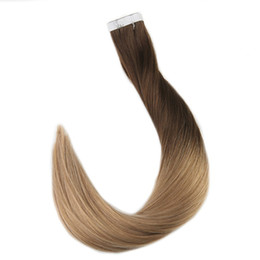 Wholesale Tape Hair Extensions 27 - Fashion Ombre Remy Tape in Human Hair Extensions Color #4 Brown Fading to #27 Honey Blond 20pcs 40pcs 2.5g pc