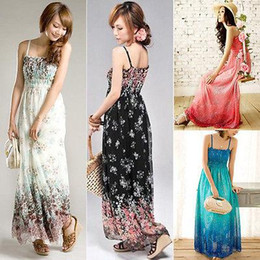 Wholesale New Sundresses - Wholesale- New Women Ladies Chiffon Boho Beach Maxi Dress Sleeveless Pleated Long Sundress