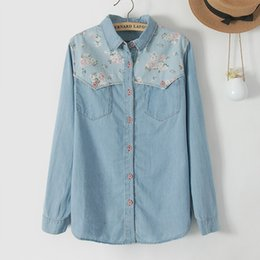 Wholesale japanese floral shirts - New Arrival Japanese Girls Retro Shirt Youth Women Floral Blouses Casual Spliced Cowboy Botton Long Sleeve Shirts