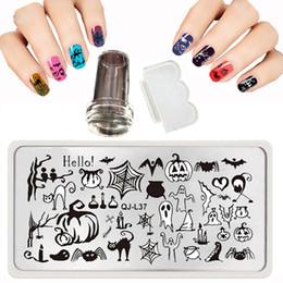 Estampado de uñas de arte x online-44 Style 12 X 6 CM QJ-L Stamp Nail Art Templates Set Plaid Steel Imagen Halloween Navidad Nail Stamping Platos + Raspador Belleza