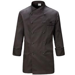 Camicia a maniche lunghe in cotone grigio Poly Hotel Restaurant Chef professionale Uniforme Bistro Diner Cucina Personale addetto Abbigliamento da lavoro B70 da