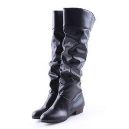 Bottes de chaussures de genou en Ligne-Bigsweety Mode Femmes Bottes Bottes De Printemps Botas Femme Stretch En Cuir PU Chaussures Femme Noir Noir Blanc Roma Longueur Au Genou