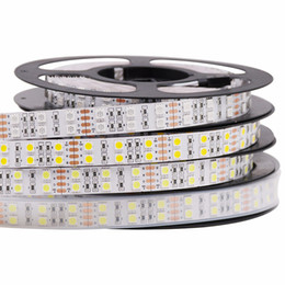 2019 cinta de luz led doble 5M DC 12V 600Led 120led / m impermeable SMD 5050 RGB Tira de led blanco cálido Luz de cinta de doble fila cinta flexible cinta de luz led doble baratos