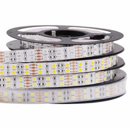 Levou luz fita branca on-line-5 M DC 12 V 600 Leds 120led / m à prova d 'água SMD 5050 RGB Branco Quente levou tira Dupla Linha fita flexível fita luz
