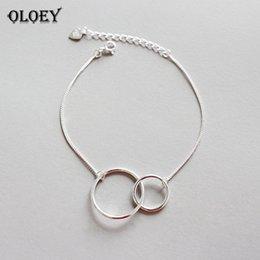 простой круглый браслет Скидка OLOEY двойной круглый круг браслеты для женщин Девушки оригинальный простой стиль Леди предотвратить аллергии стерлингового серебра ювелирные изделия YMB030