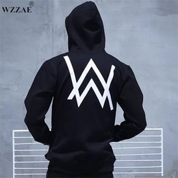 belt black star Coupons - Winter Fleece Sweatshirt Alan Walker Faded Hoodie Men Sign Printing Hip hop Rock Star sweatshirt Fleece Black Band HoodiesMen