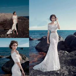Wholesale Vintage Prince - 2017 White Lace Robe De Mariage Vintage Wedding Dresses With Half Sleeves Vestido De Noiva Bateau Neck Two Pieces Bridal Gowns Sexy Princes