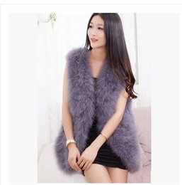 Wholesale Natural Knitted Fur Vest - Hot Sale New 2015 Women Winter encryption 100% natural ostrich feathers turkey feather fur vest vest fur coat Coat