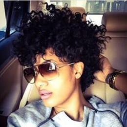 Canada Perruque de cheveux humains pleine de dentelle perruque crépue bouclée perruque afro-américaine 100% faite à la machine de femmes courtes perruques de lacet de cheveux humains cheap african american kinky curly wigs Offre