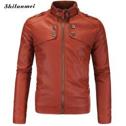 Nuevo bombardero 2017 softshell Spring PU chaqueta de piel de cuero negro motocicleta hombres abrigo impermeable invierno marrón negro color puro otoño desde fabricantes