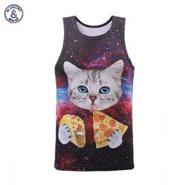 Wholesale pizza print shirt - Mr .1991inc New Arrival Men  Women 3d Tank Tops Summer Cool Vest Funny Print Eating Pizza Cat Space Galaxy Tees Shirts 17models
