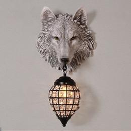 Lámparas de lobos online-Clásico LLEVÓ la Lámpara de Pared de Cristal Accesorio de Resina Lobo Luz de La Pared Apliques de Arte Para el Dormitorio de los niños Corredor bestia Lámpara ferviente G687