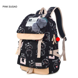 Wholesale Ostrich Plums - Pink sugao designer backpack for men and women print letter cartoon backpacks canvas shoulder bags 12 color choose high quality