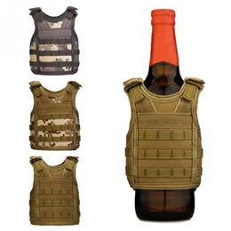 Garrafa de molle tático on-line-Criativo Tactical Beer Bottle Cooler Vest Molle Mini Caça Coletes Modelo de Manga Copo de Bebida Refrigeradores alças ajustáveis