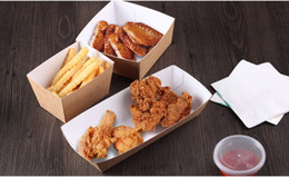 Wholesale Chicken Fries - Disposable Kraft Paper French Fries Cup Eco Friendly Fried Chicken Popcorn Dessert Plate Party Food Package