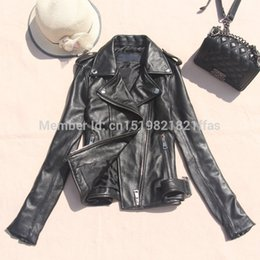 Wholesale real leather motorcycle jackets - Factory Genuine leather motorcycle clothing design sheepskin short outerwear real leather jacket short slim fashion disgn