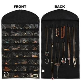 Wholesale Jewelry Display Necklace Earrings Bracelets - Large 84*46cm Hanging Storage Bag Jewelry Holder Necklace Bracelet Earring Ring Pouch Organizer Bag Jewelry Display Bags 876878