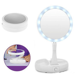 Wholesale Desktop Cosmetic Mirrors - Foldable LED Makeup Mirror Portable 360 Degree Rotation Round Women Facial Makeup Cosmetic Desktop Mirror 10X Magnification Lighted Mirror