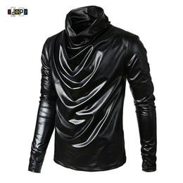 Lange t-shirts leder männer online-Idopy Männer Hip Hop Kunstleder T Shirts Langarm Rollkragen Gefälschte Leder Hipster Hiphop Street Style T-stücke Für Männer