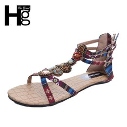 Sandalias de estilo étnico online-HEE GRAND Summer Style Ethnic Women Sandals 2018 Bohemia Fashion Rebordear Pu Impreso Casual plana con para mujer XWZ797