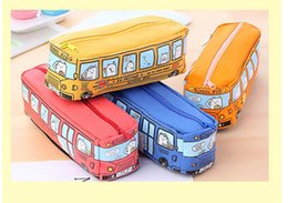 Wholesale Cars School Bus - Pencil Case Cartoon Bus Car Stationery Bag Cute Animals Canvas Pencil Bags For Boys Girls School Supplies Toys Gifts
