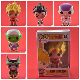 Wholesale Kid Goku Figure - FUNKO POP Dragon Ball Z Son Goku Vegeta Piccolo Cell PVC Action Figure Collectible Model FUNKO POP Novelty Items CCA9664 20pcs