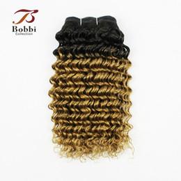 Wholesale blonde deep wave remy extensions - 3 Bundles Ombre Brazilian Hair Weave Bundles T 1B 27 Dark Root Honey Blonde Deep Curly Human Hair Extension